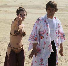 Rare shot of Leia directing Luke to the nearest gay bar