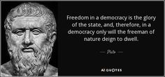 Freedom in a democracy is the glory of the state, and, therefore, in a democracy only will the freeman of nature deign to dwell. - Plato