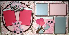 "Valentine's Day layout by DT Debbie using ""Hogs & Kisses"" pattern by Cuddly Cute Designs"