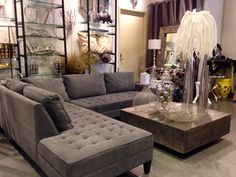 gray and gold living room. pauline sofa from z gallery | living