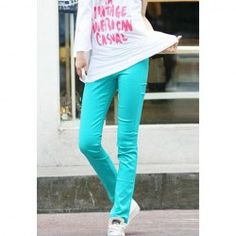 $6.85 Preppy Style Candy Color Elastic Slimming Bottoming Cotton Blend Pants For Women