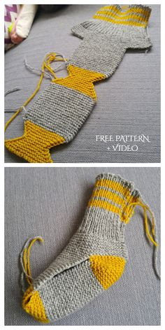 Easy Knit One Piece Slippers Free Knitting Pattern + Video - Knitting Pattern - Diy and crafts interests Easy Knitting Patterns, Knitting Stitches, Knitting Socks, Free Knitting, Knitting Projects, Baby Knitting, Crochet Patterns, Crochet Slipper Pattern, Knitting Ideas
