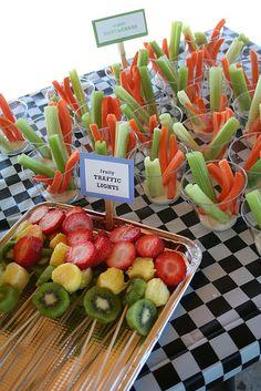Bike themed food: fruity traffic lights and veggie handlebars