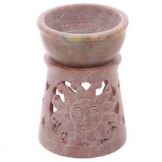 Soapstone Oil Burner - Pale with Sun Pattern