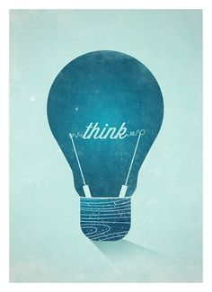 Think Graphic Wall decor poster Vintage Light Bulb by NeueGraphic in Typography & Graphic Design