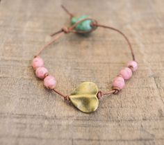Leather beaded bracelet  Pink beaded bracelet with by BitByABead, $16.00