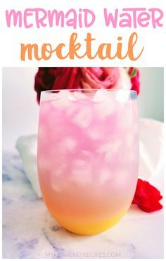 Mermaid Water Mocktail- fun girly drink to make for summer! Add alcohol for a splash. Layered drink to make mocktail for kids. Mocktail Drinks, Fruit Drinks, Refreshing Drinks, Party Drinks, Alcoholic Drinks, Kid Drinks, Cocktails, Cocktail Recipes, Beverages