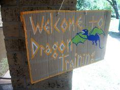 Welcome to dragon training - Wings made out of cardboard, and dragon eggs made out of balloons!