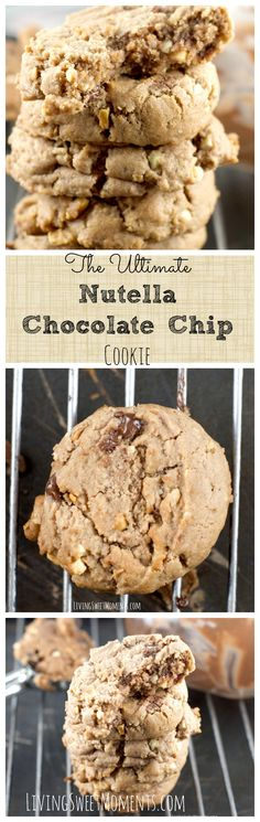 The Ultimate Nutella Chocolate Chip Cookies - This is absolutely the best chocolate chip cookie recipe you will every try! Fudgy, nutty with a deep chocolate hazelnut taste!