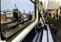 Richard Estes: M Train on Route to Manhattan Approaches the Williamsburg Bridge