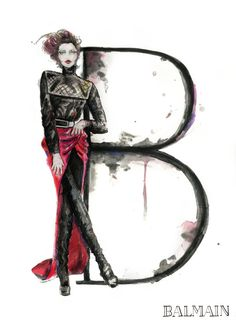 B Balmain Fashion Illustration