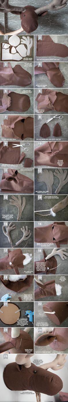 DIY Felt Moose Head. Template and tutorial   liagriffith http://liagriffith.com/diy-felt-moose-head/