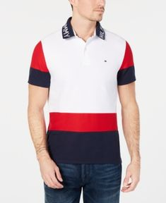 Tommy Hilfiger Men's Classic Fit Bryant Colorblocked Polo - Red S Polo Rugby Shirt, Polo Shirts, Men's Polo, Camisa Polo Tommy, Mens Big And Tall, Plus Size Activewear, Dresses With Leggings, Trendy Plus Size, Casual Looks