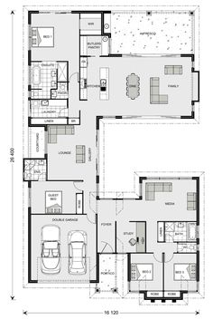 Floor Plan Friday: Separate Living Zones The living, study and beds adjacent to the garage would make a great second home and put another bedroom in place of the living room next to the 'guest bed' Best House Plans, Dream House Plans, House Floor Plans, Home Design Floor Plans, Plan Design, Design Ideas, U Shaped Houses, U Shaped House Plans, 4 Bedroom House Plans