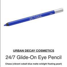 """Urban decay 24/7 eyeliner Incredible creamy glide on liner lasts until you take it off & this one is truly one of the prettiest of this collection...""""chaos"""", is an amazing cobalt blue that makes eyes POPexpect compliments! NEW/UNUSED/FULL SIZE. new w/out box. NO! PP/NO! TRADES/other sites❌ price FIRM unless bundling NO! offers please❤️ YES! free gift w/purchase ALWAYS Urban Decay Makeup Eyeliner"""
