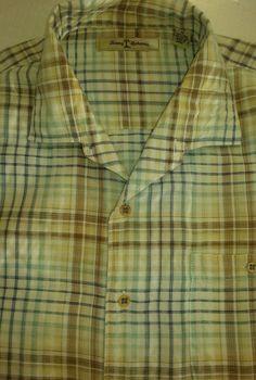 Tommy Bahama Men Shirt Xl Tan Plaid Short Sleeve Button Front Pocket #TommyBahama #ButtonFront