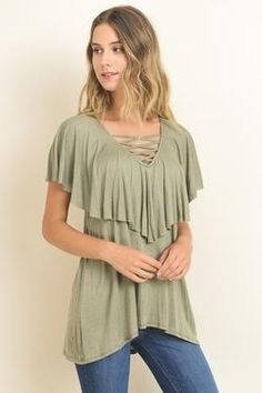 Ruffled Top with Criss Cross Lace Up Neckline