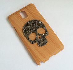 Skull Samsung Galaxy Note 3 case, Wood Texture Hard Plastic Cover for Samsung Galaxy Note 3 with Skull