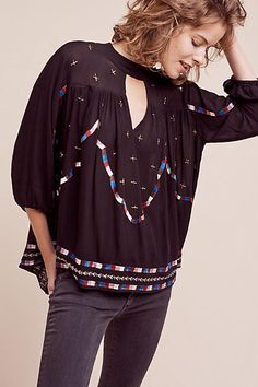 Embroidered Keyhole Blouse