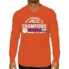 Clemson Tigers The Victory by Original Retro Brand 2015 ACC Conference  Football Champions Locker Room Long Sleeve T-Shirt - Orange 342bb0599