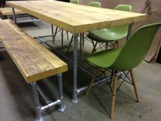 Scaffold board dining table and matching scaffold bench and 4 Eames inspired DSW side chairs