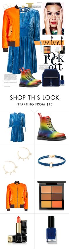 """Rock it in Velvet"" by ellie366 ❤ liked on Polyvore featuring Justine Clenquet, Sole Society, Moschino, MAC Cosmetics, Guerlain, Bobbi Brown Cosmetics, StreetStyle, dresses, rainbow and velvet"