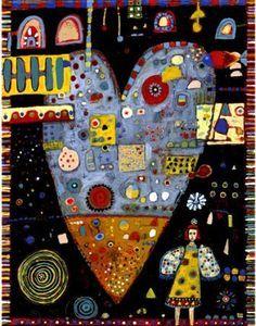 Six assorted heart cards by jillmayberg on Etsy Textile Fiber Art, Elements Of Art, Heart Art, Whimsical Art, Altered Art, Folk Art, Art Projects, Original Art, 1