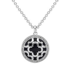 Marie Claire Jewelry Crystal Silver Tone Clover Pendant Necklace, Women's, White