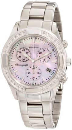 Citizen Women's FB1220-53D Regent Chronograph Eco-Drive Ladies' Watch Citizen. $412.50. Water-resistant to 30 M (99 feet). Stainless steel. Chronograph, diamond dial, date. Eco-drive. Sapphire glass crystal. Save 25% Off!