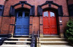 red brick houses with blue and gray trim images | What color would you paint this front door?