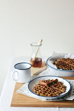 overnight oat waffles with lemon zest poppy seeds + pomegranate honey