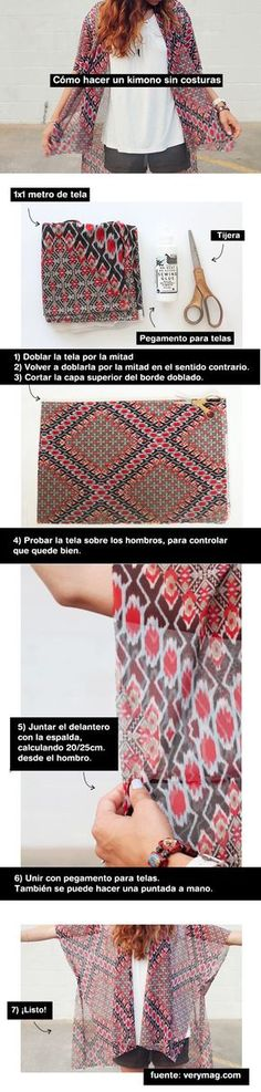 6 pasos para hacer un kimono sin costuras. Rapidísimo. DIY - tutorial - fácil, rápido, simple, barato. Moda. Coachella Kimono DIY tutorial easy cheap and quickly.