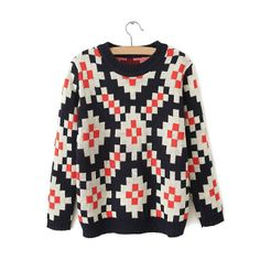 Trendy Scoop Collar Small Checked Long Sleeves Women's Knitting SweaterVintage Sweaters   RoseGal.com