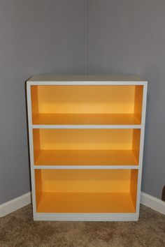 paint the entire inside of a bookshelf with a pop of color - not just the back panel. That way, color pops out even if the shelf is narrow & full of books! Click through for the simple how - to!