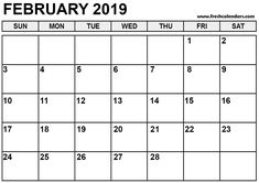 66 Best Blank February 2019 Calendar Template Images On Pinterest In