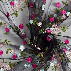 Tulle lace Romantic floral embroidery - black / light blue Party Mode, Tulle Lace, Floral Embroidery, Light Blue, Wreaths, Fabrics, Black, Summer, Decor
