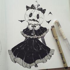 Ink drawing Pumpkin head Girl in Gothic Dress Halloween Art Anime, Anime Kunst, Halloween Drawings, Halloween Art, Gothic Halloween, Arte Horror, Horror Art, Inspiration Art, Art Inspo