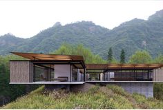 landscape architecture - Elevation of proposed Courtyard House showing operable bamboo screens Huangshan China Minimal Architecture, Residential Architecture, Architecture Design, Modern Exterior, Exterior Design, Glass House Design, Modern Villa Design, House On Stilts, Courtyard House