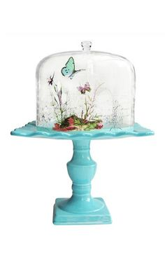 make a winter scene inside of a cake stand with moss, rocks, shells, etc. (plain white not blue)