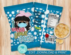 INSTANT DOWNLOAD, Editable I miss your face 004 Chip Bag Candy Bag, party Favors, Chip Wrappers by AdrisCorner on Etsy