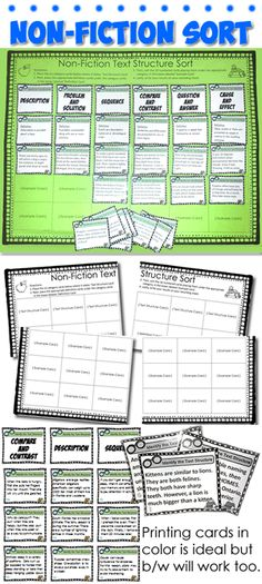 Non-Fiction Text Structure Sort Reading Lessons, Reading Skills, Teaching Reading, Math Lessons, Guided Reading, Learning, 6th Grade Reading, 6th Grade Ela, Fourth Grade