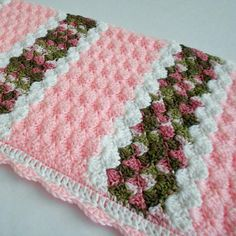 Ravelry: Cameron Baby Afghan pattern by Mary Robinson 💖🌹💖 BeautifulWhat do you get when you match a very pretty pink yarn with camo? You get a Cameron Baby Afghan! When I saw these col.Crochet Pattern - Cameron Baby Afghan Babyghan - Throw B Crochet Afghans, Baby Afghan Crochet Patterns, Crochet Motifs, Baby Blanket Crochet, Crochet Baby, Knitting Patterns, Crochet Blankets, Baby Blankets, Blanket Yarn