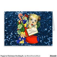 #PuppyInChristmasStocking #BlueFauxGlitter #BlankNoteCard by #MoonDreamsMusic #ChristmasPresents