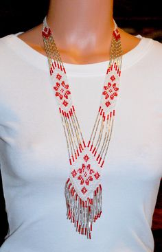 """Ukrainian hand-made long necklace """"Gerdan"""". Red, white, and silver"""