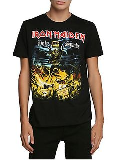"Black T-shirt from Iron Maiden with ""Holy Smoke"" single cover art."