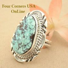 Elongated Dry Creek Turquoise Stone Ring Size 7 1/4 Thomas Francisco Four Corners USA OnLine Native American Indian Silver Jewelry NAR-1431 Silver Jewellery Indian, Navajo Jewelry, Silver Jewelry, Silver Rings, Gold Jewellery, Turquoise Rings, Turquoise Stone, Bisbee Turquoise, Indiana