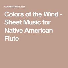 colors of the wind flute sheet music pdf