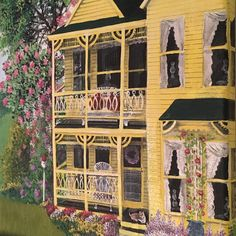 Yellow Victorian House (detail) - acrylic painting on canvas #victorianhouses #painting #paint #painting #yellowhouse