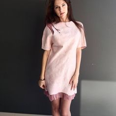 felted casual pink dress decorated with silk fibres. merino wool italian