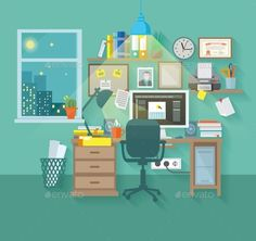 Workspace In Room by macrovector Workspace in room interior with desk chair home computer and stationery vector illustration. Editable EPS and Render in JPG format